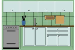 Retro Green Kitchen Scene