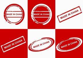hecho en etiquetas de china vector