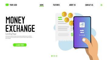 Money exchange website and app landing page vector