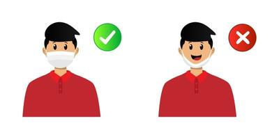 How to wear face mask properly design vector