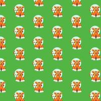 Cute tiger pattern on green vector