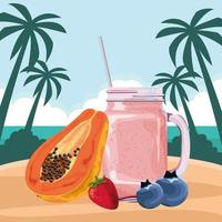 Tropical fruit and smoothie drink vector