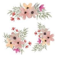Watercolor floral arrangement collection vector