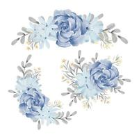 Watercolor blue rose floral arrangement set vector