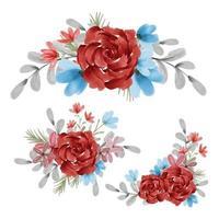 Watercolor floral bouquet set vector