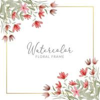 Watercolor hand painted red floral frame decoration vector