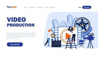 plantilla de página de destino de producción de video vector