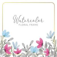 Watercolor floral frame with wildflowers vector