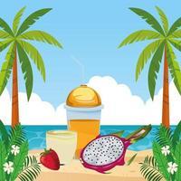 escena de playa de bebida de frutas tropicales y batidos vector