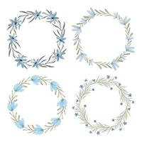 Watercolor blue floral wreath circle frame set vector
