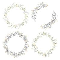 Set of watercolor yellow floral wreaths