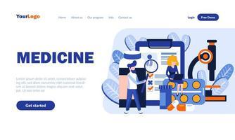 plantilla de página de destino plana de medicina vector