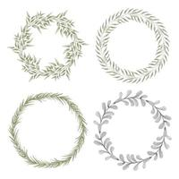 Hand painted watercolor leaf circle wreath set