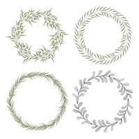 conjunto de corona de círculo de hoja de acuarela pintada a mano