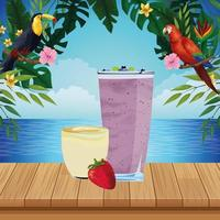 Tropical fruit and smoothie drink water scene vector