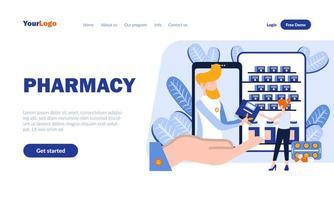 plantilla de página de destino plana de farmacia vector
