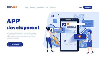 Mobile app landing page template vector