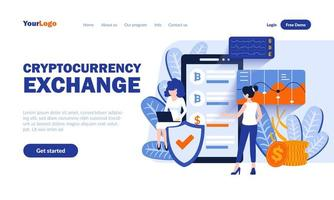 Cryptocurrency landing page template vector