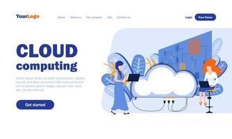 plantilla de página de destino de computación en la nube vector