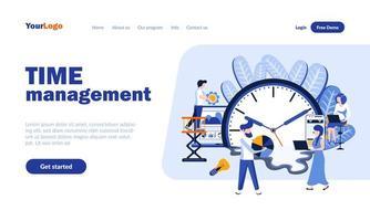 plantilla de página de destino plana de gestión del tiempo vector
