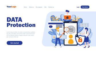 plantilla de página de destino plana de protección de datos vector