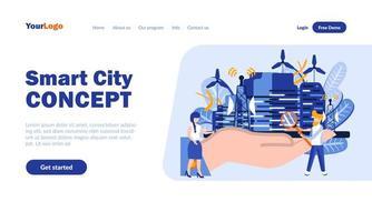 plantilla de página de destino del concepto de ciudad inteligente vector