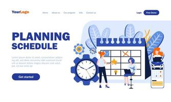 Planning schedule flat landing page template vector