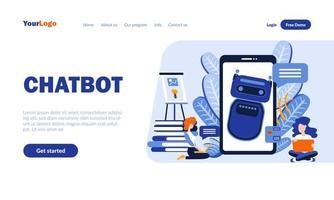 plantilla de página de destino plana de chatbot vector