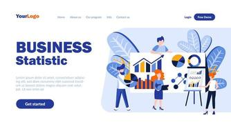 Business statistics flat landing page template vector