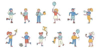 Children having fun flat-design set vector