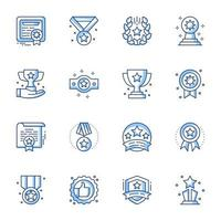 Achievement line-art icon set