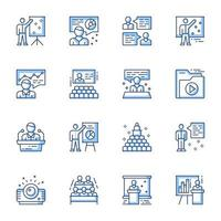 conjunto de iconos de arte de línea de conferencia de negocios