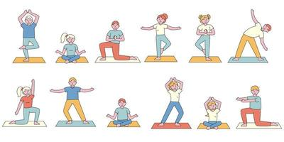 conjunto de diseño plano de estudiantes de clase de yoga vector