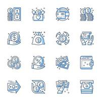 Finances and money line-art icon set