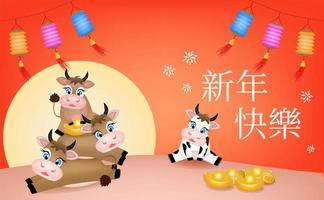 OX happy fortune greeting with moon and gold coin