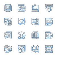 Review and user satisfaction line-art icon set