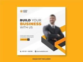 Business social media post template in orange and white