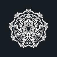 Abstract White Mandala Design on Black vector