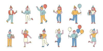 People partying flat-design set vector