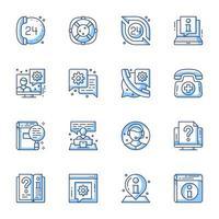 Customer service line-art icon set