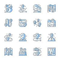 GPS navigator and location line-art icon set vector