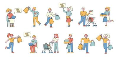 People shopping flat-design set vector