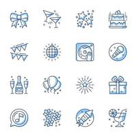 Party and celebration line-art icon set vector