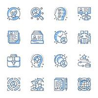 Recruitment line-art icon set vector