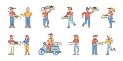 Pizza delivery service flat-design set vector