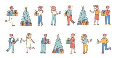 Holidays celebration flat-design set