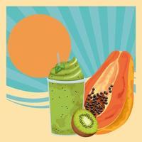 Diseño retro de bebidas de frutas tropicales y batidos. vector