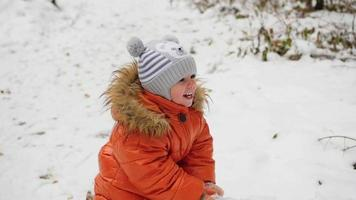 un bambino che dondola su un albero caduto nel parco invernale