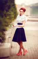 Retro girl in town photo
