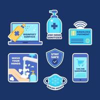 New Normal Protocol Sticker Collection in Blue Shade vector